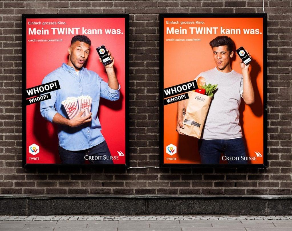 Plakatsujets zur Imagekampagne von Twint